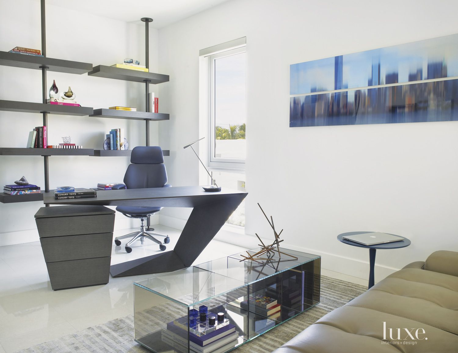Modern White Office with Custom Shelving