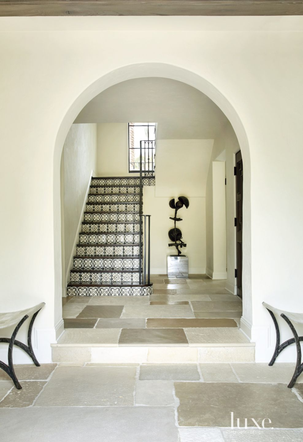 Transitional Cream Stairway with Tile Detail