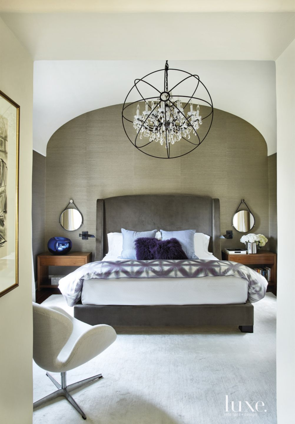 Transitional Neutral Bedroom with Barrel Vaulted Ceiling