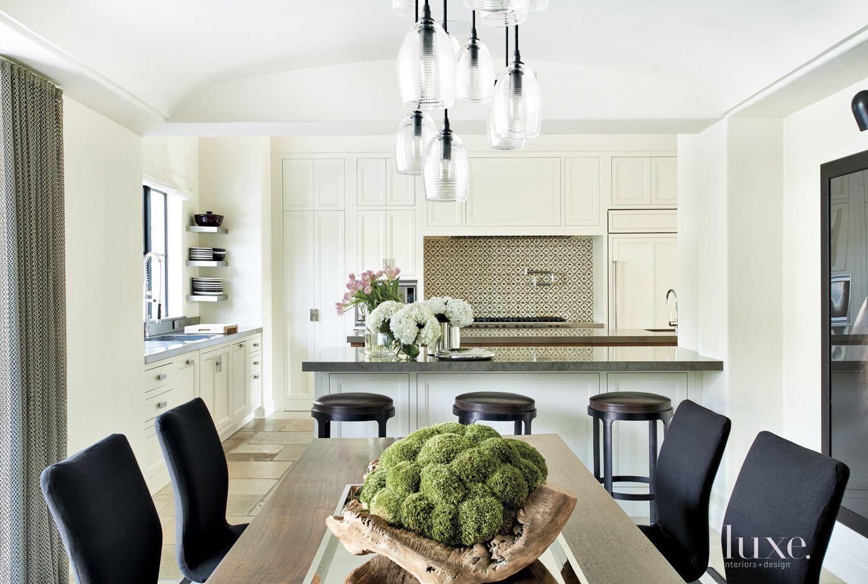 Transitional White Kitchen with Tile Backsplash