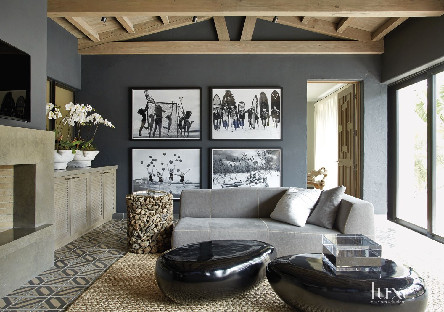 Transitional Gray Family Room with Rock-Shaped Tables