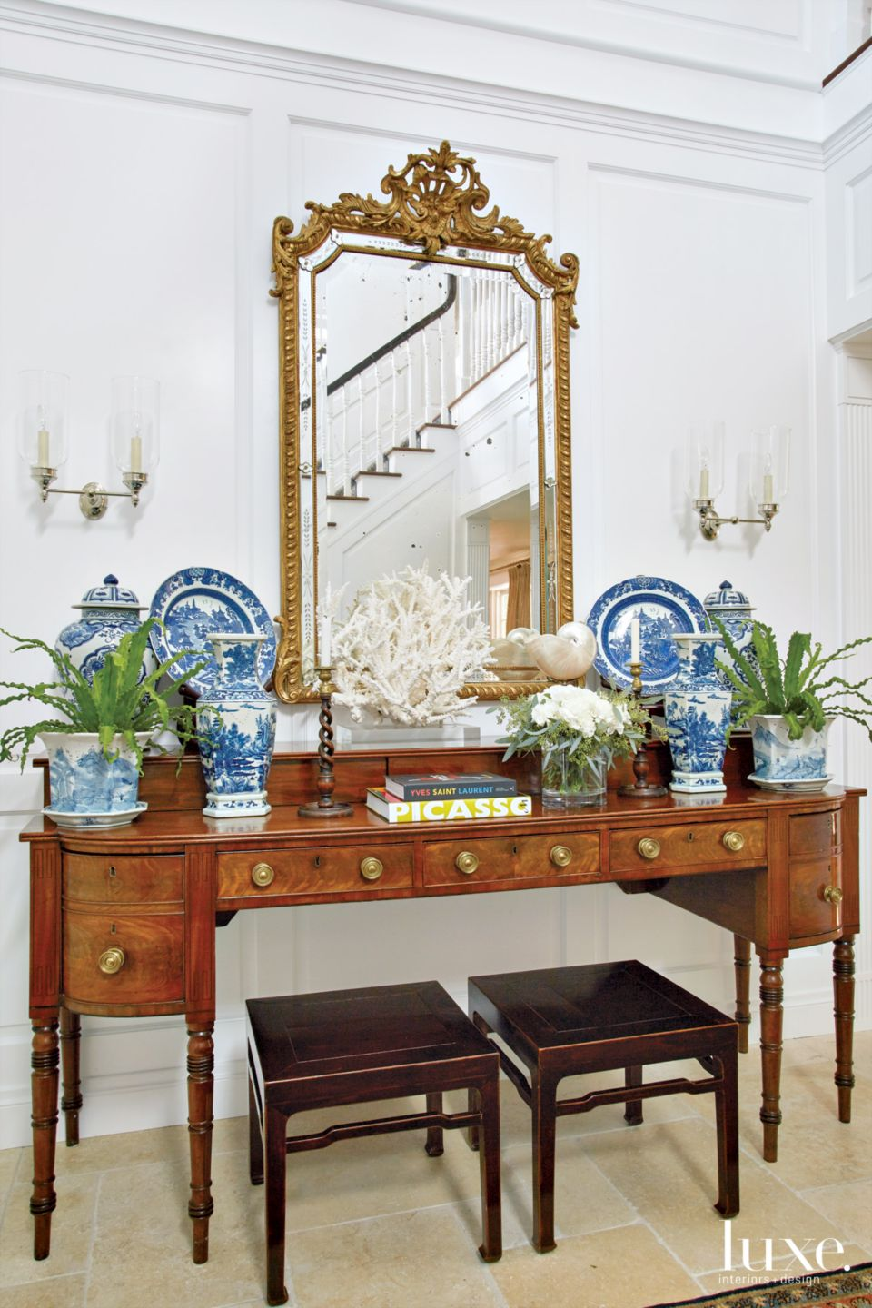Traditional White Foyer Vignette with Chinese Pottery