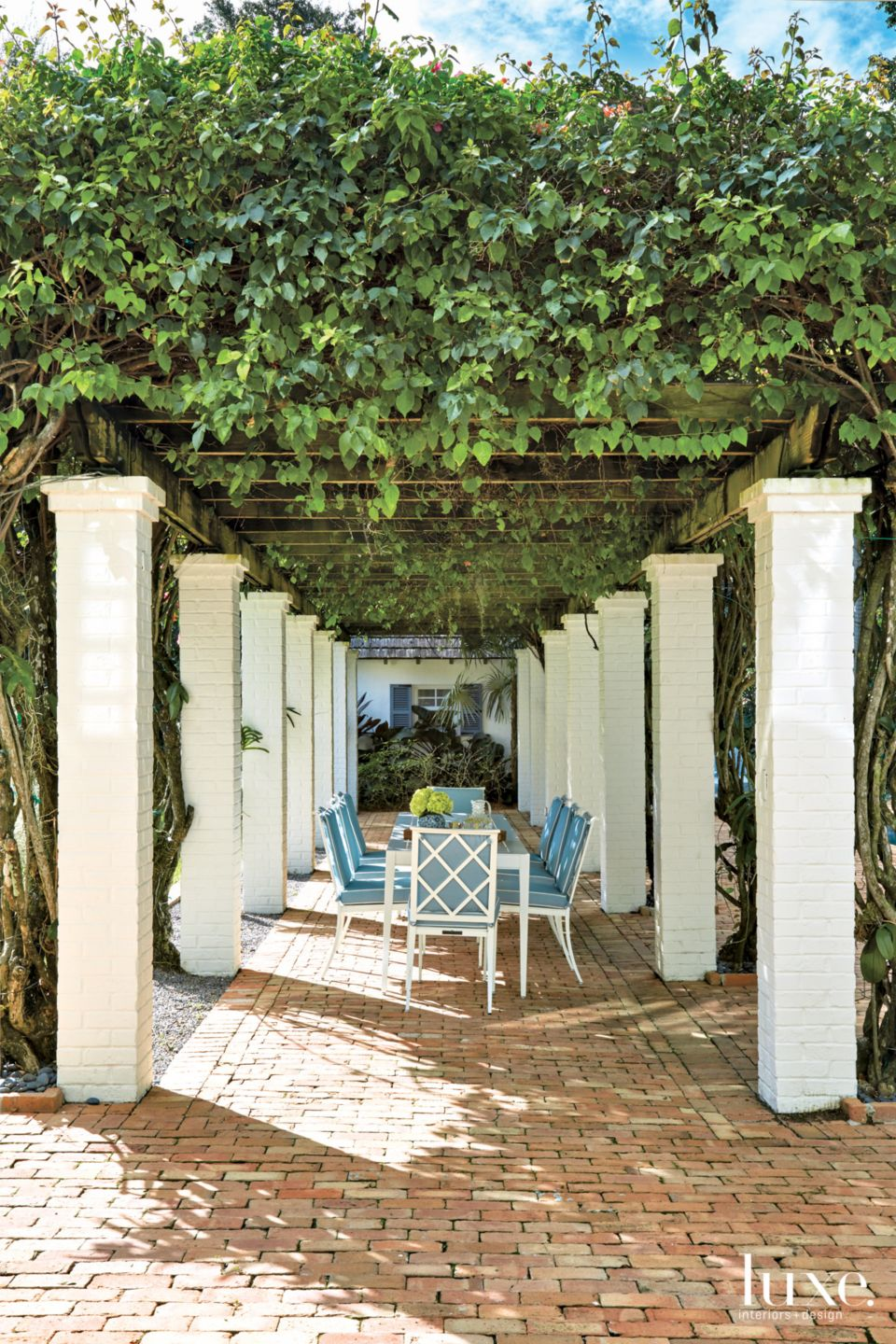 Traditional White Pergola with White-Brick Columns