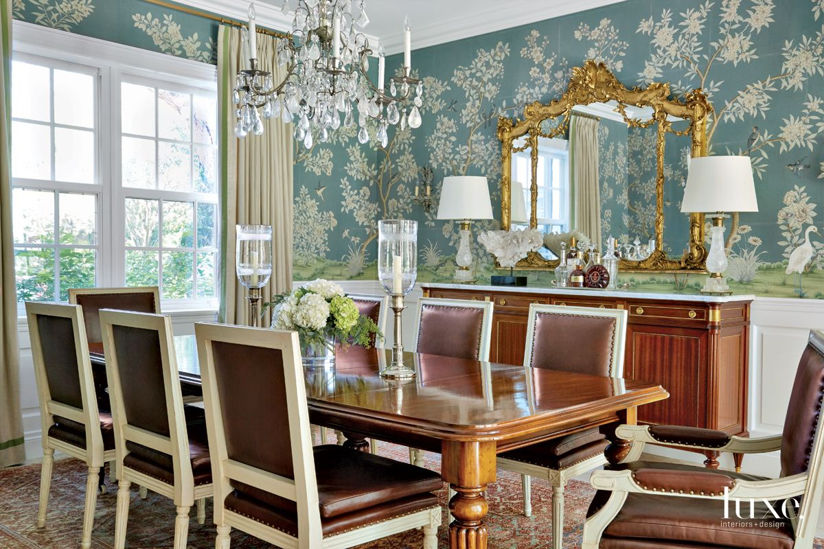 Traditional Blue Dining Room with Floral Wallcovering