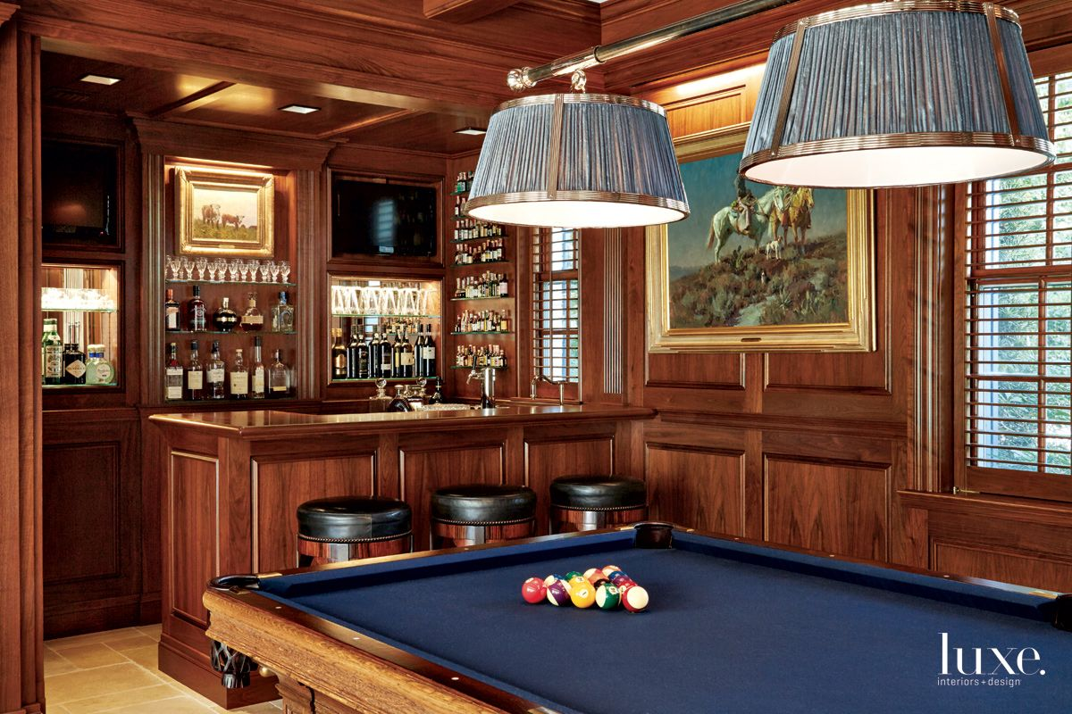 Traditional Brown Game Room with Walnut Paneling