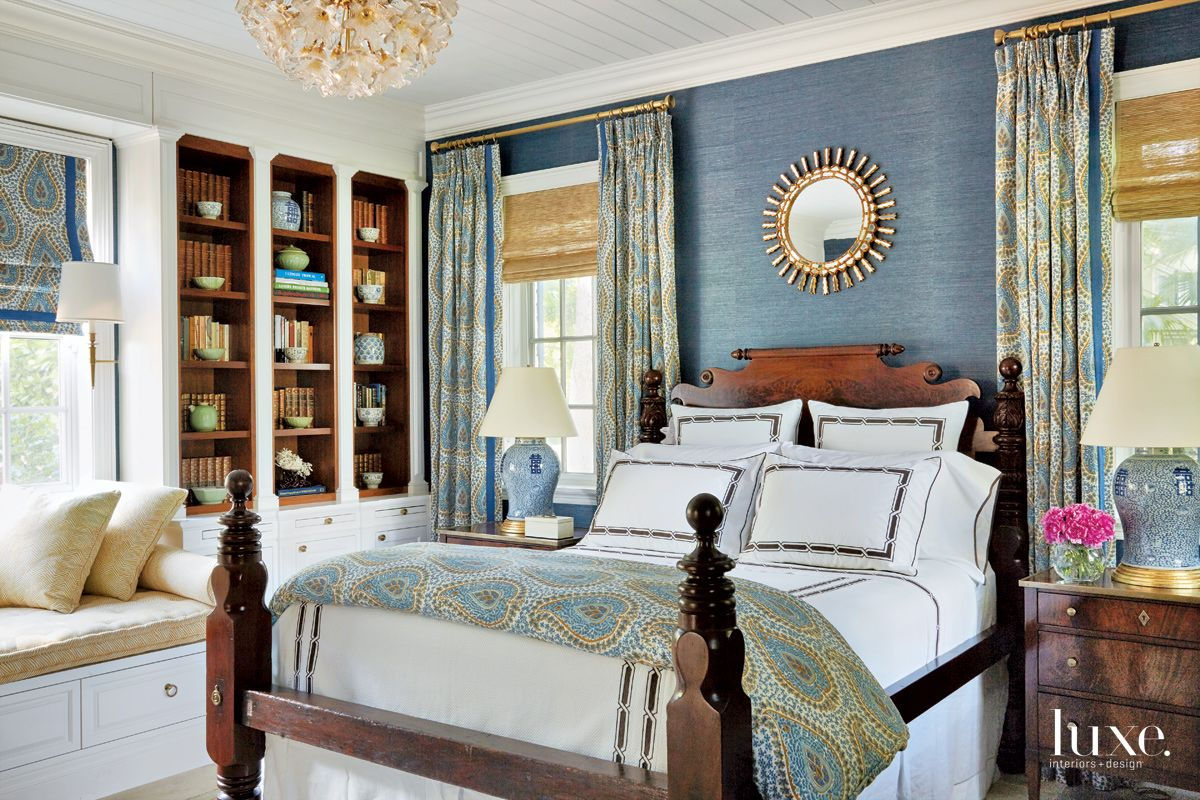 Traditional Blue Bedroom with Glass Chandelier