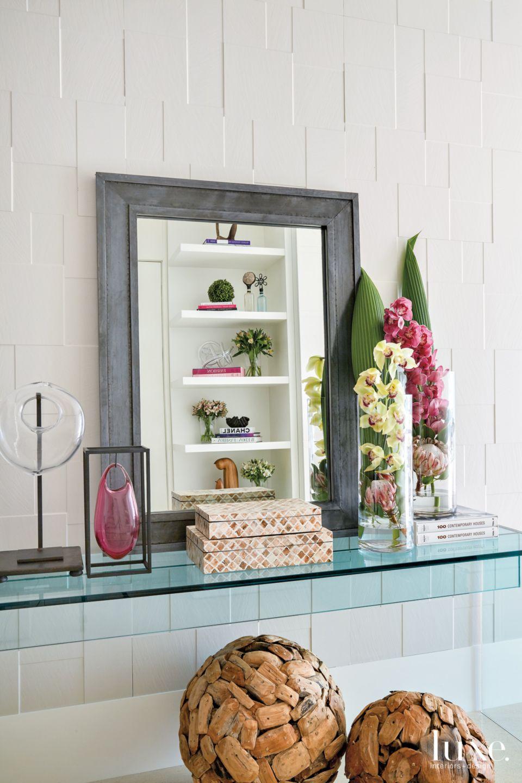 Contemporary White Bathroom Vignette with Blue Glass Shelf