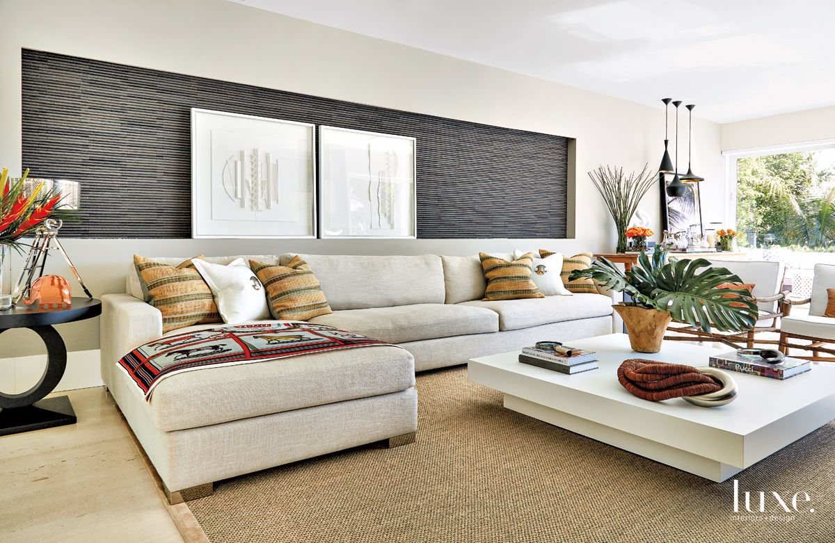 Contemporary White Family Room with Stone Wall Niche
