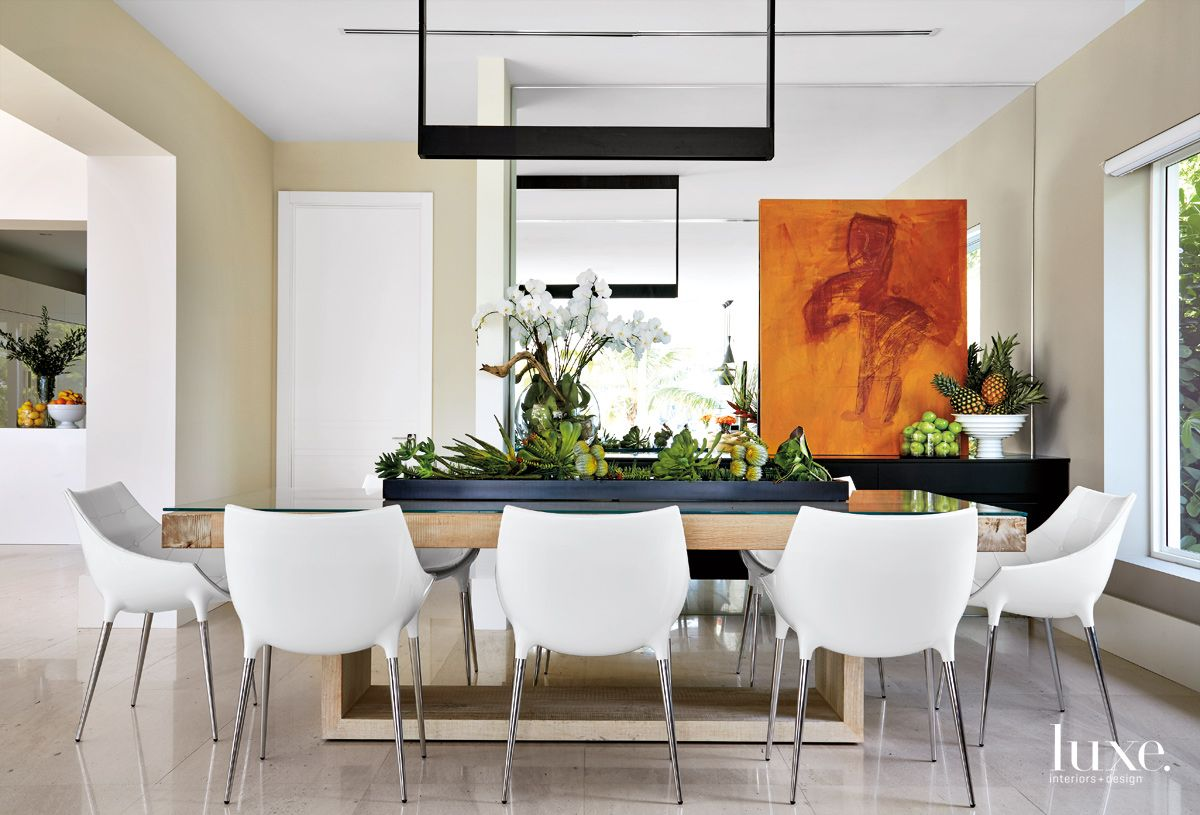 Contemporary White Dining Room with Scoop-Bottomed Chairs