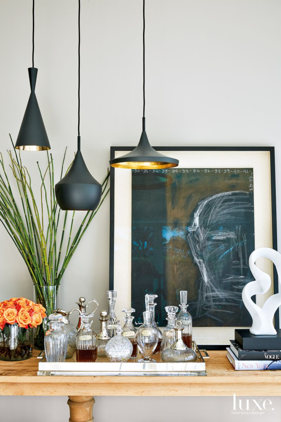 Contemporary White Family Room Vignette with Crystal and Glass Bottles