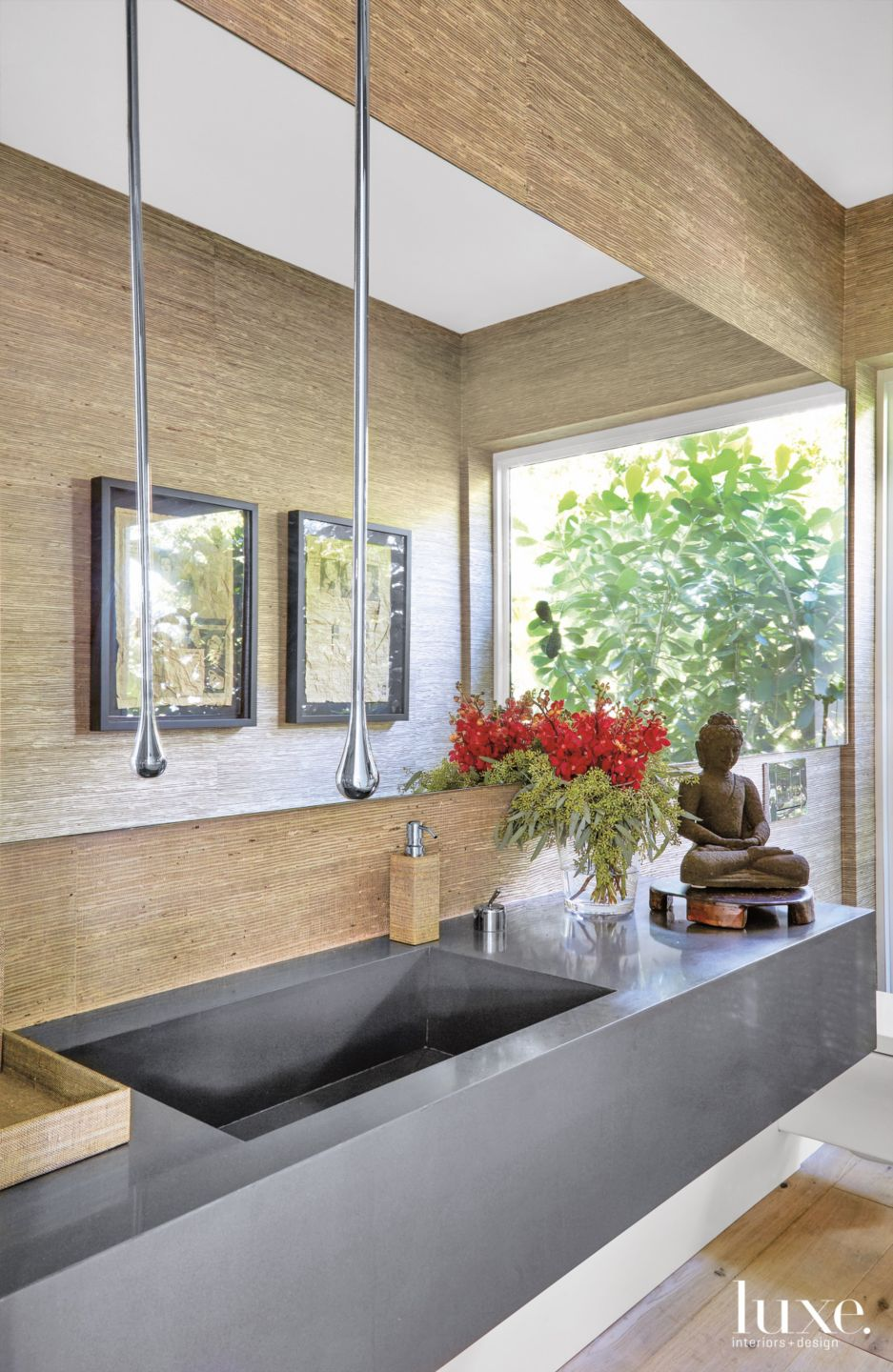 Contemporary Brown Powder Room with Waterdrop-Style Faucet