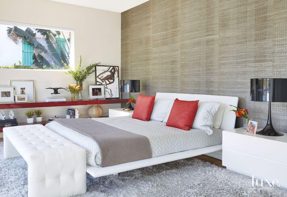 Contemporary White Bedroom with Custom Shelves