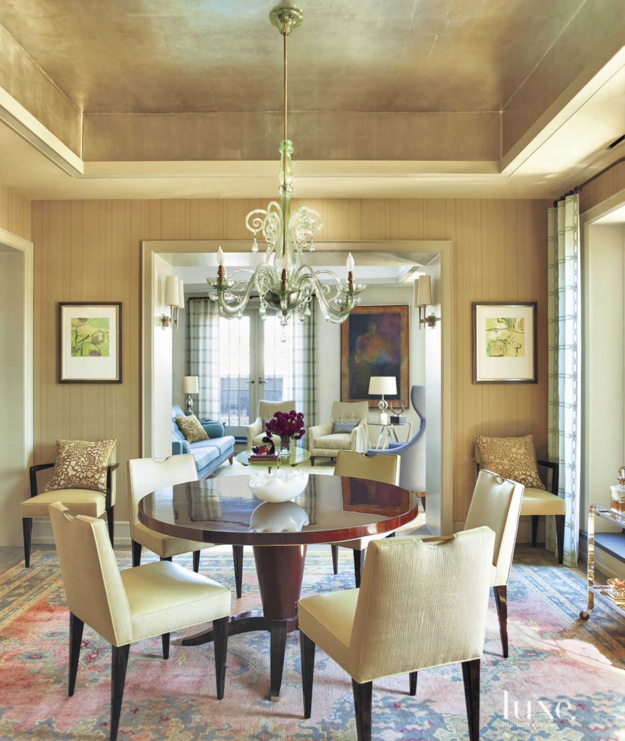 Contemporary Gold Dining Room with Vintage Table