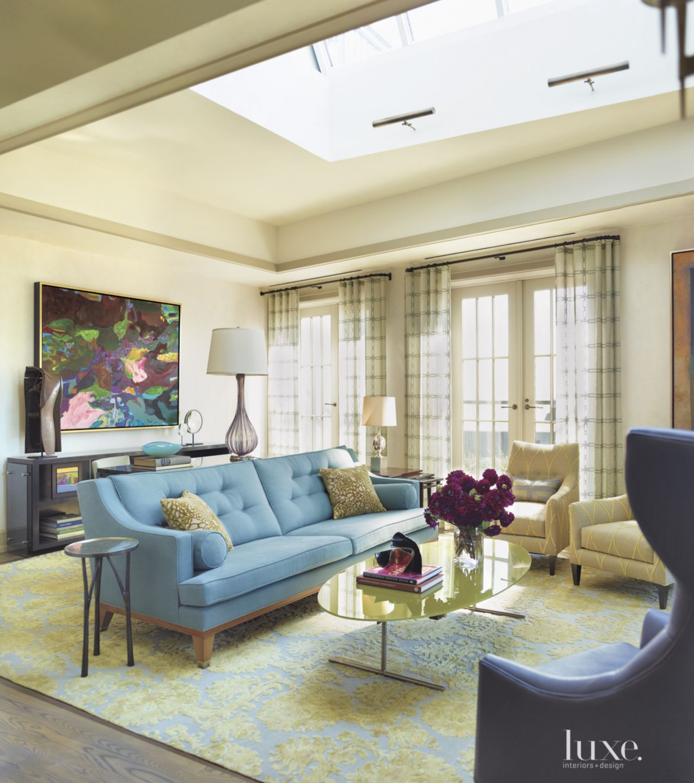 Contemporary Cream Living Room with Massive Skylight