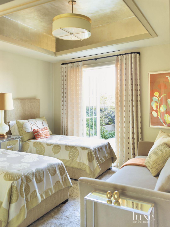 Contemporary Cream Bedroom with Custom Pendant Light