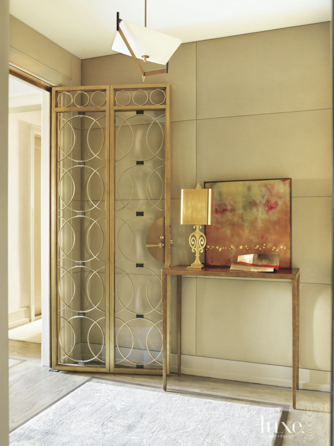 Contemporary Neutral Foyer with Console Table