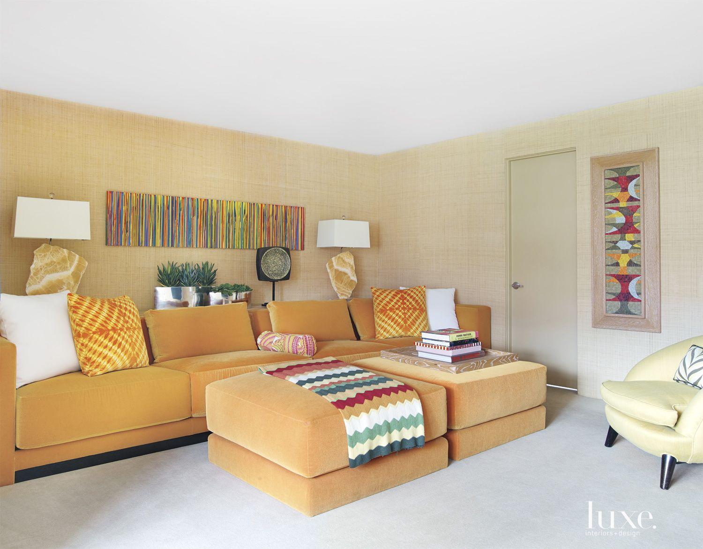 Contemporary Orange-Accented Media Room