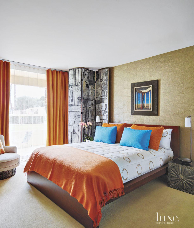 Contemporary Orange-Accented Guest Bedroom