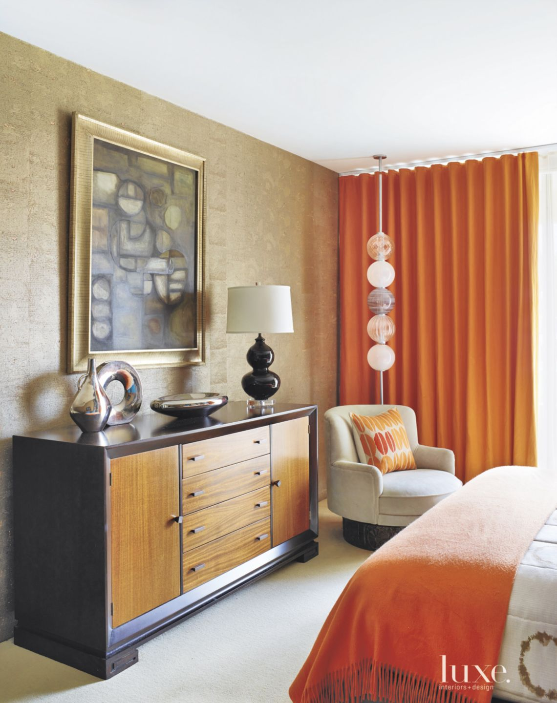 Contemporary Guest Bedroom Rosewood Cabinet