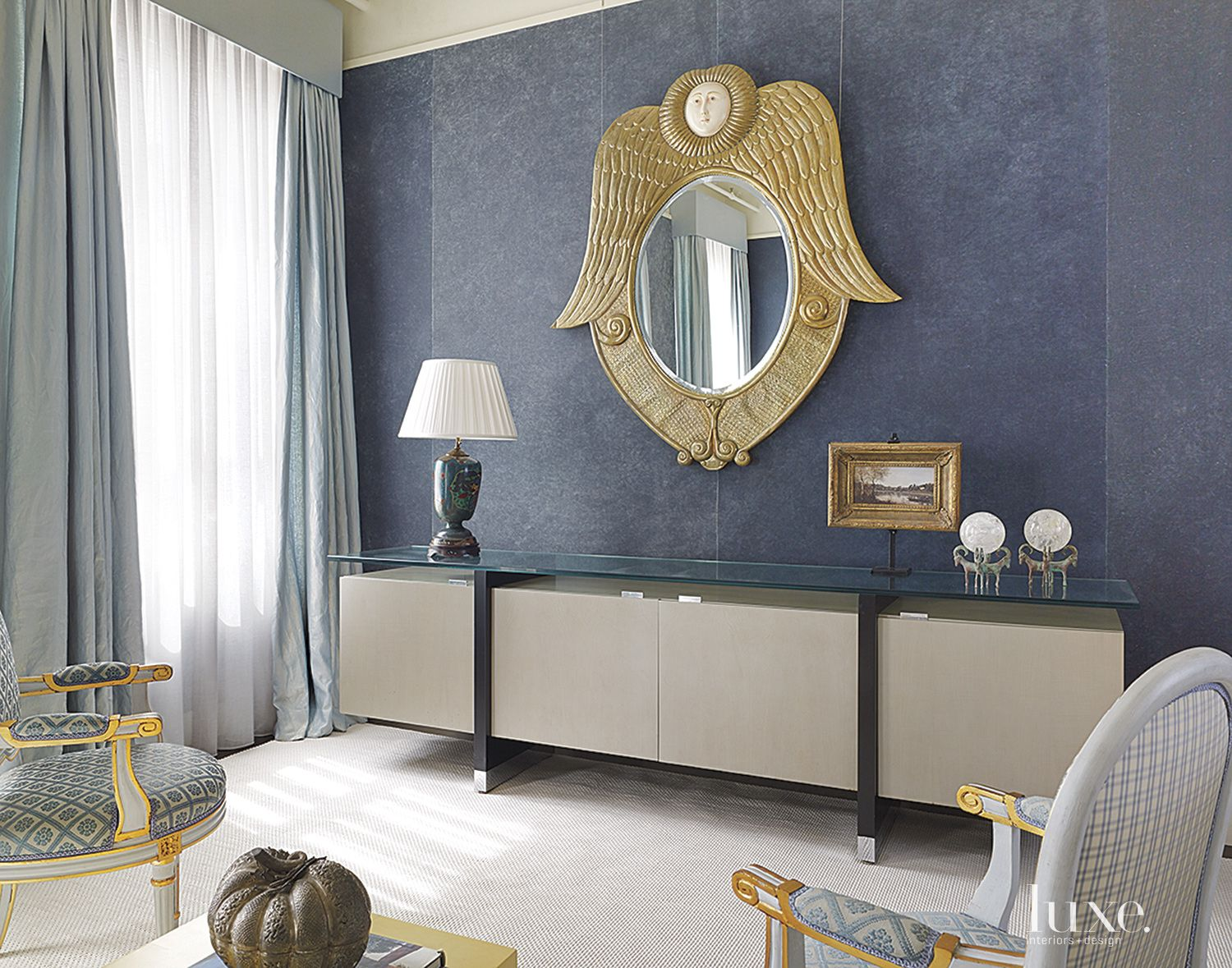 Contemporary Blue Master Bedroom Console
