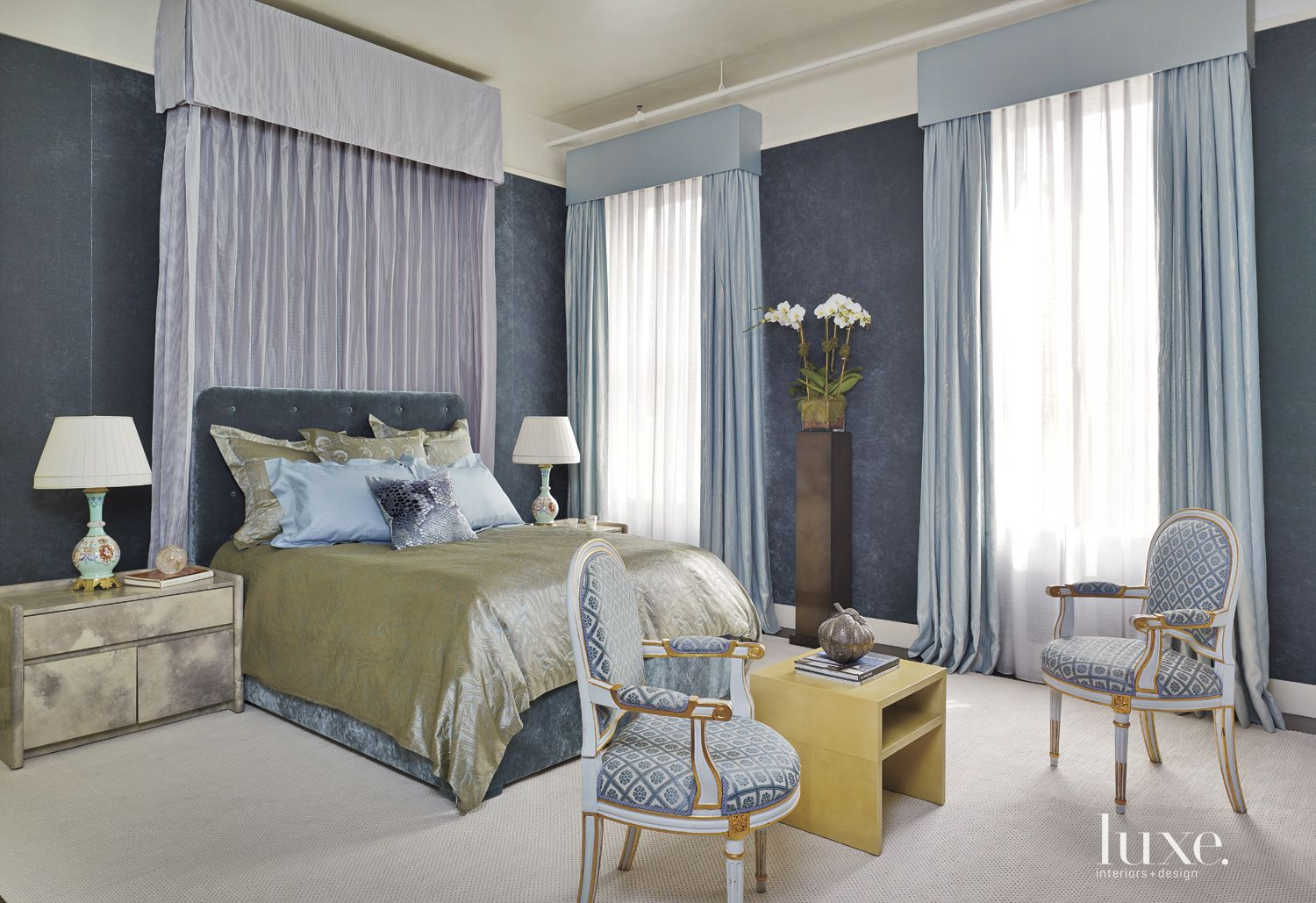 Contemporary Blue Master Bedroom