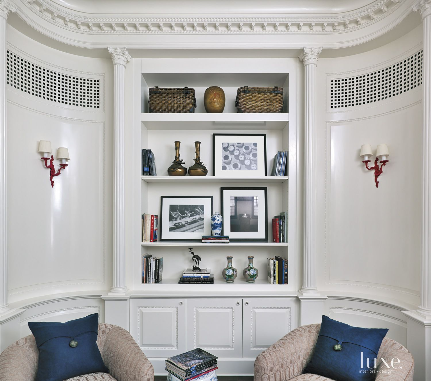 Transitional White Library Shelves