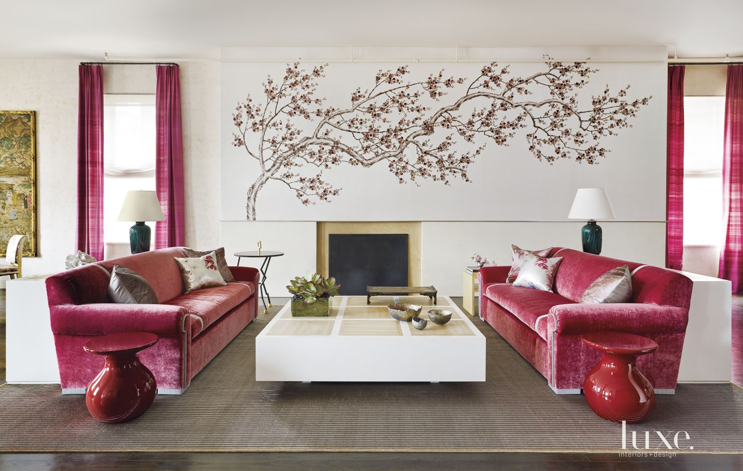 Contemporary Pink-Accented Living Area