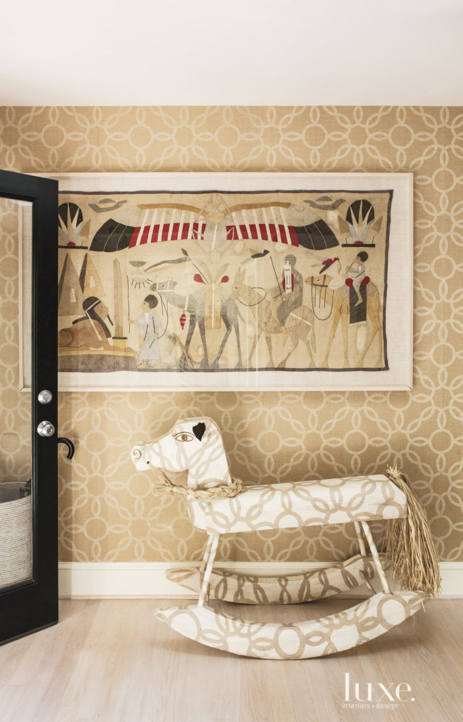 Eclectic Neutral Hall Detail with Rocking Horse