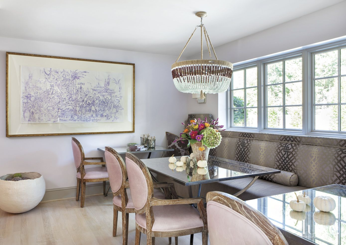 Eclectic White Breakfast Area with Patterned Banquette
