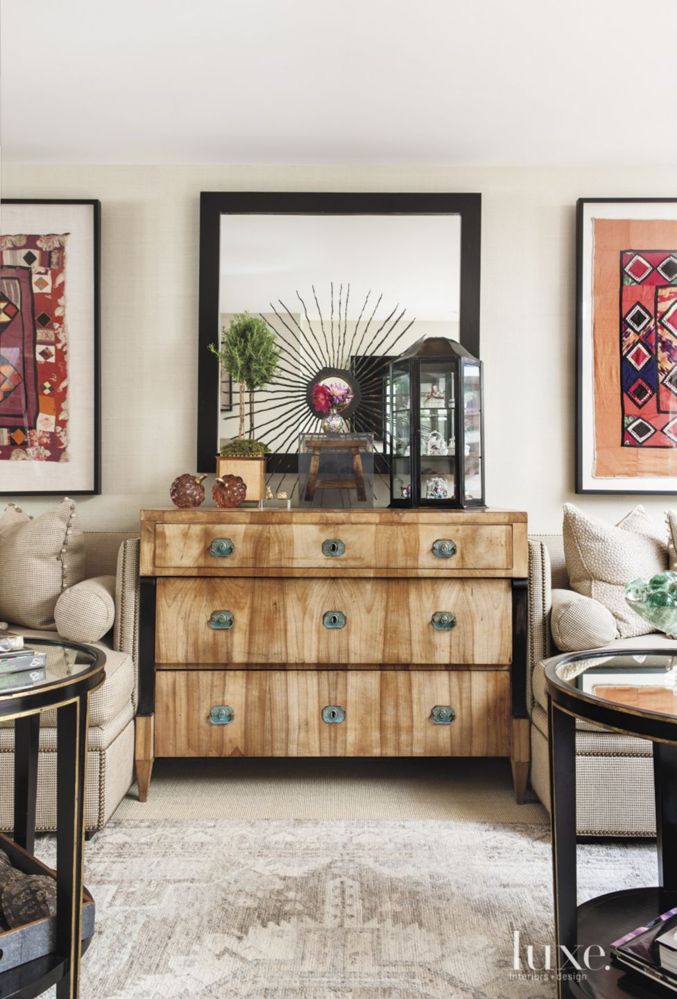 Eclectic White Living Room with Chest