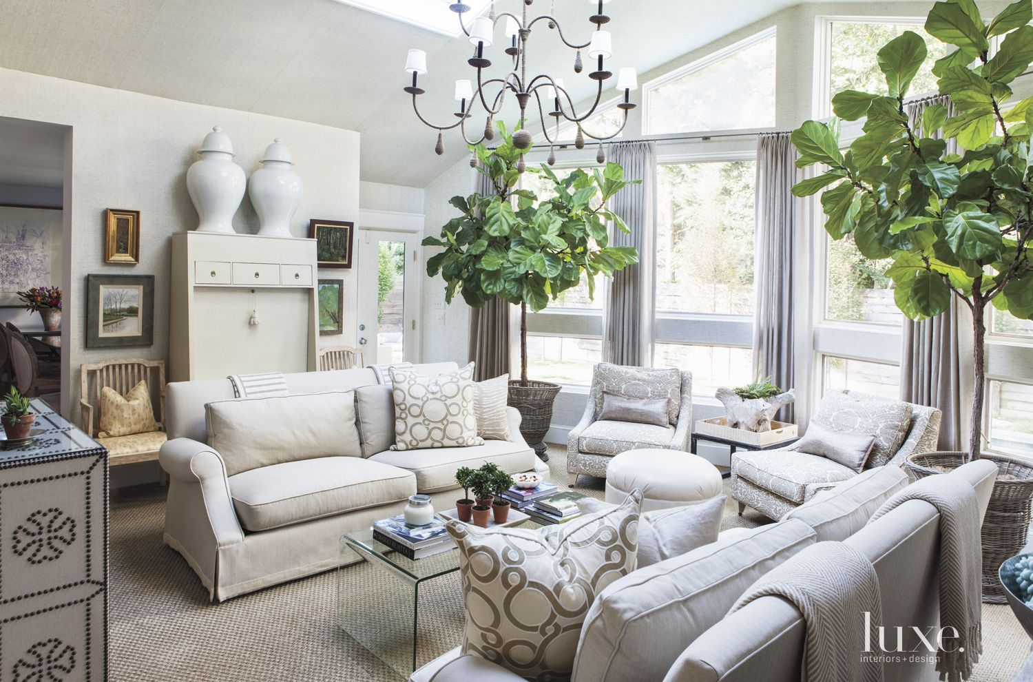 Eclectic White Living Room with Trees