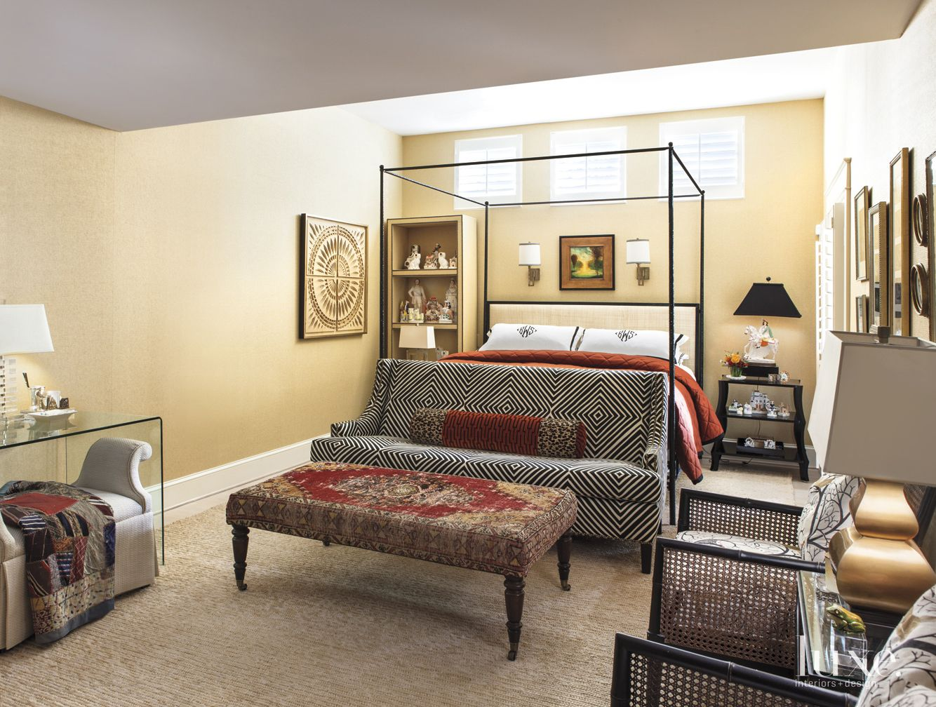 Eclectic Yellow Bedroom with Patterned Sofa