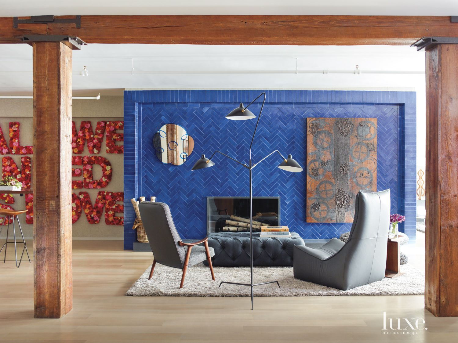 Eclectic Neutral Living Room with Blue Feature Wall