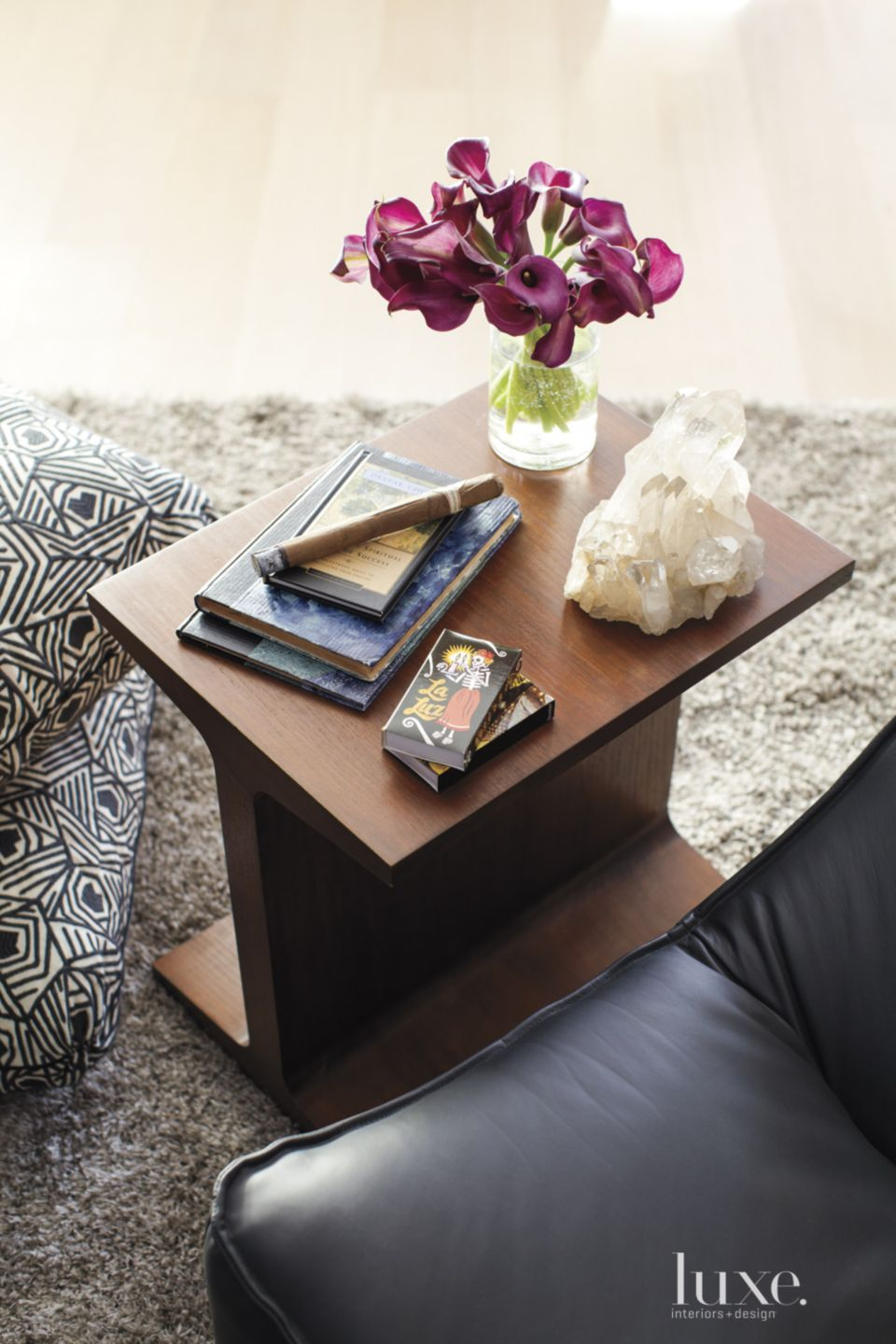 Eclectic Sitting Room Detail with Small Table