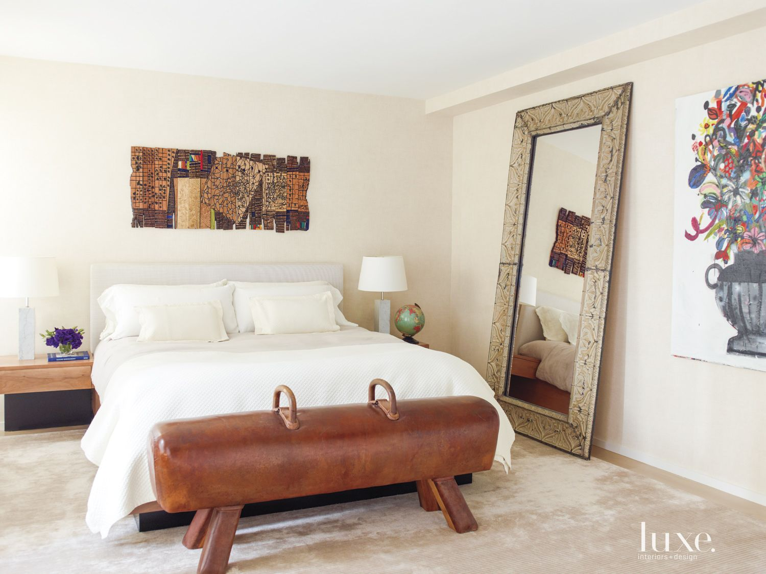 Eclectic White Bedroom with Full Mirror