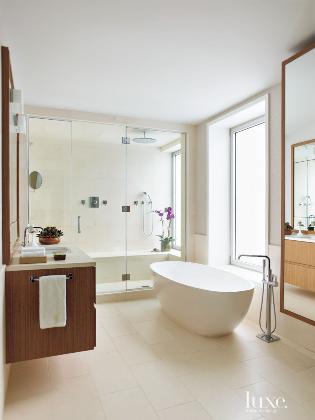 Contemporary White Bathroom with Floating Vanity