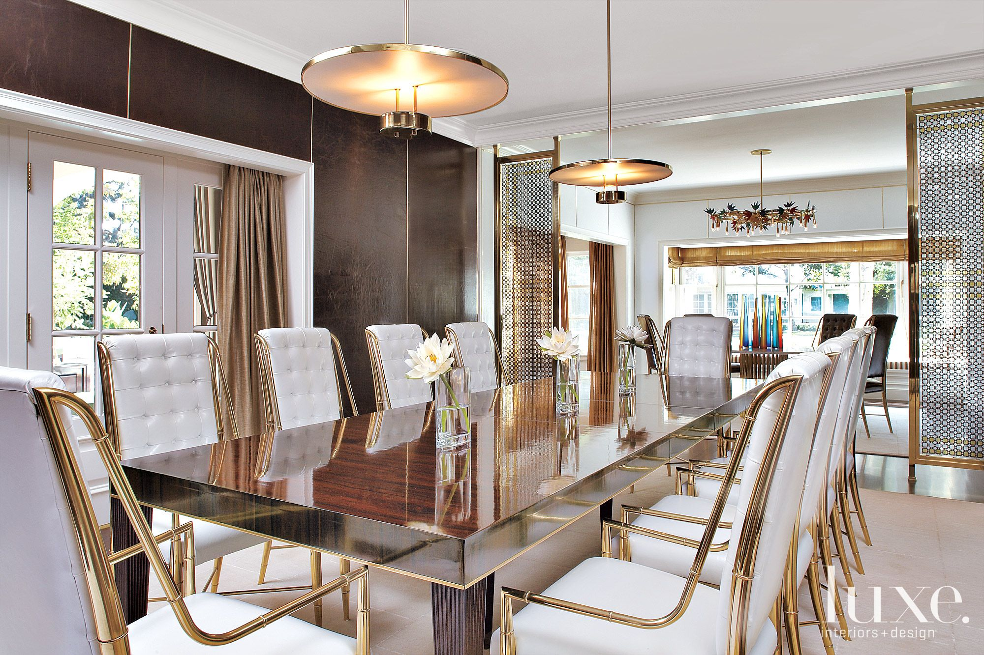 Transitional White Dining Room with Gold Accents