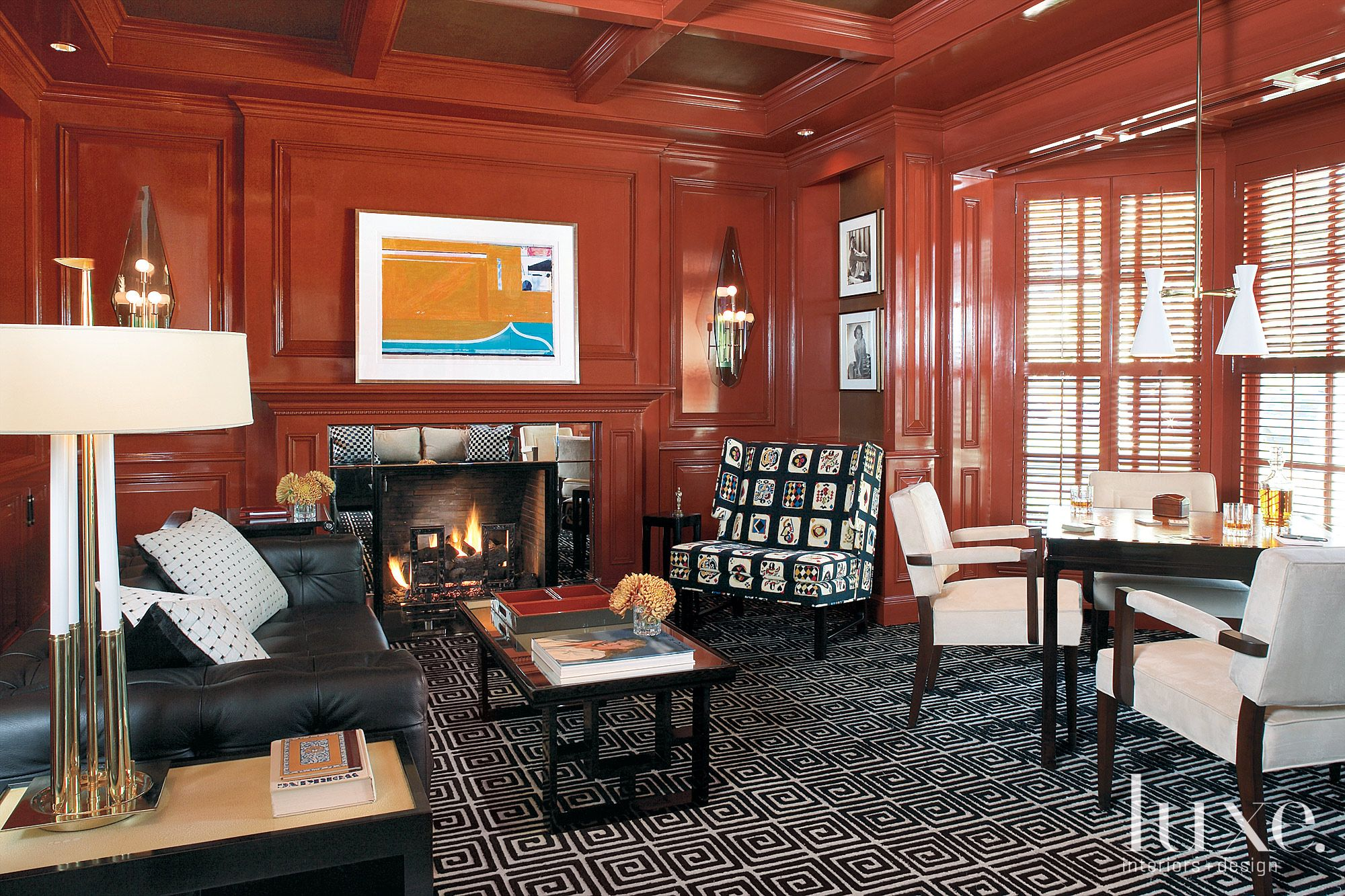 Eclectic Red Game Room with Greek Patterned Rug
