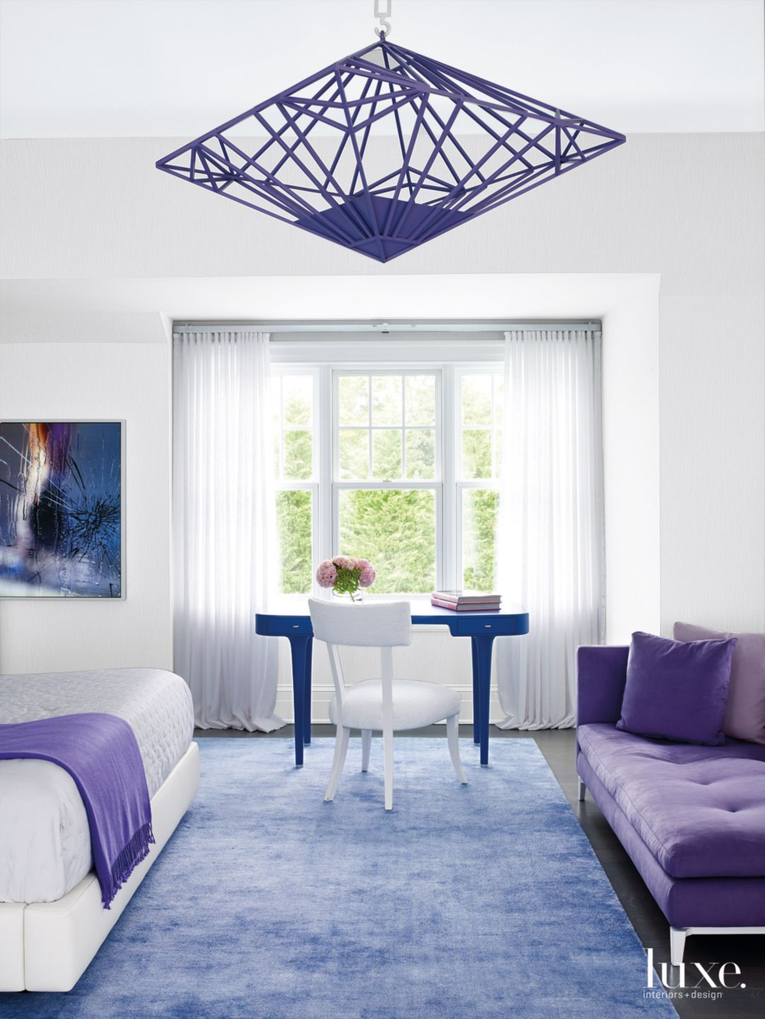 Contemporary White Master Bedroom with Violet Furnishings