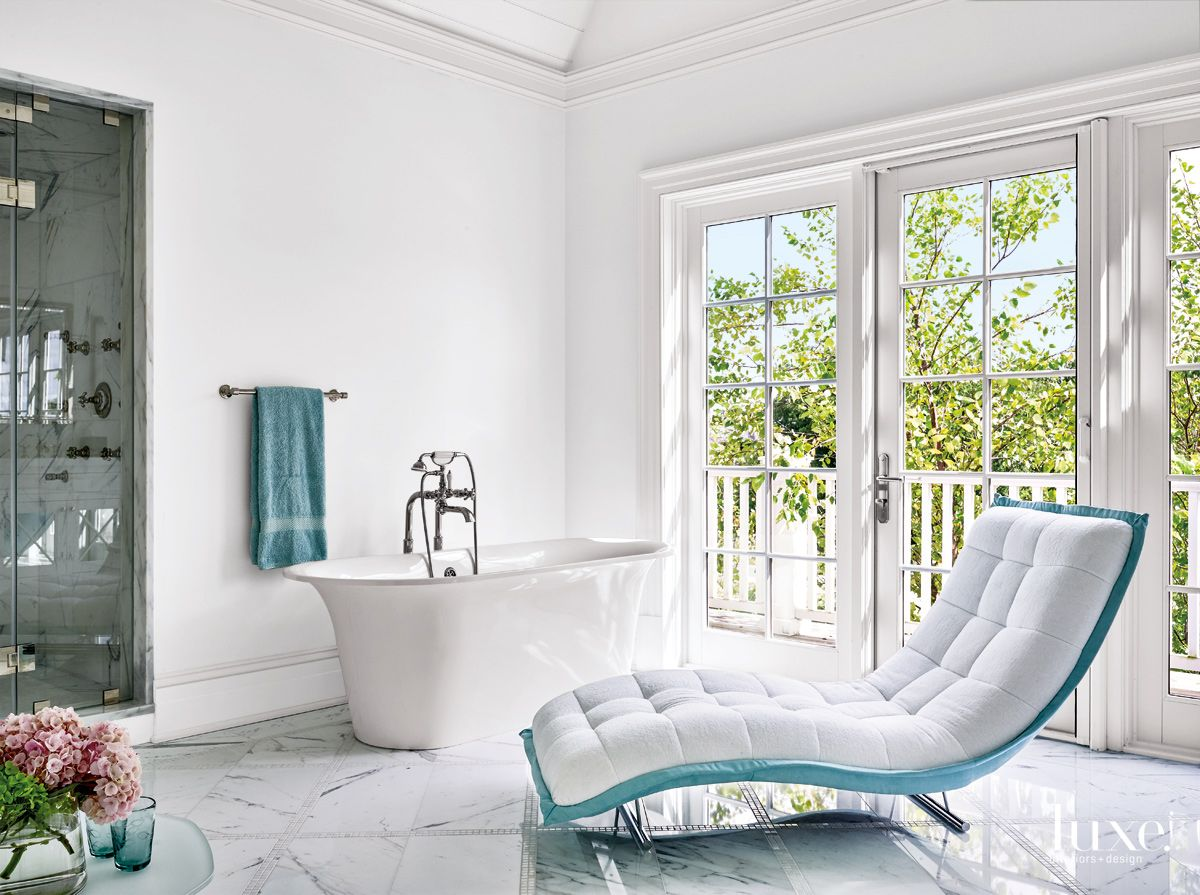 Contemporary White Master Bathroom with Tufted Chaise