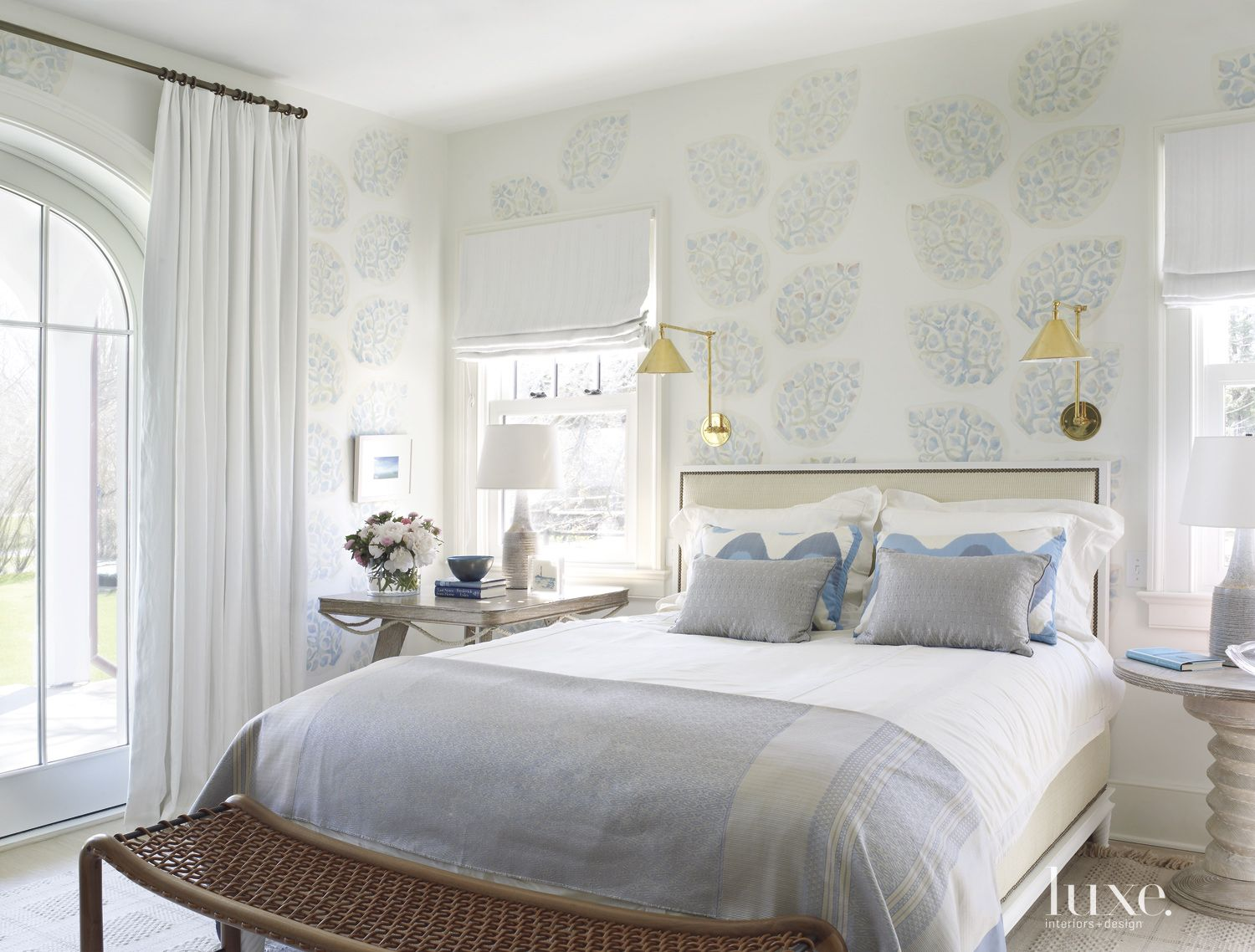 Transitional Neutral Bedroom with Stenciled Wall Pattern