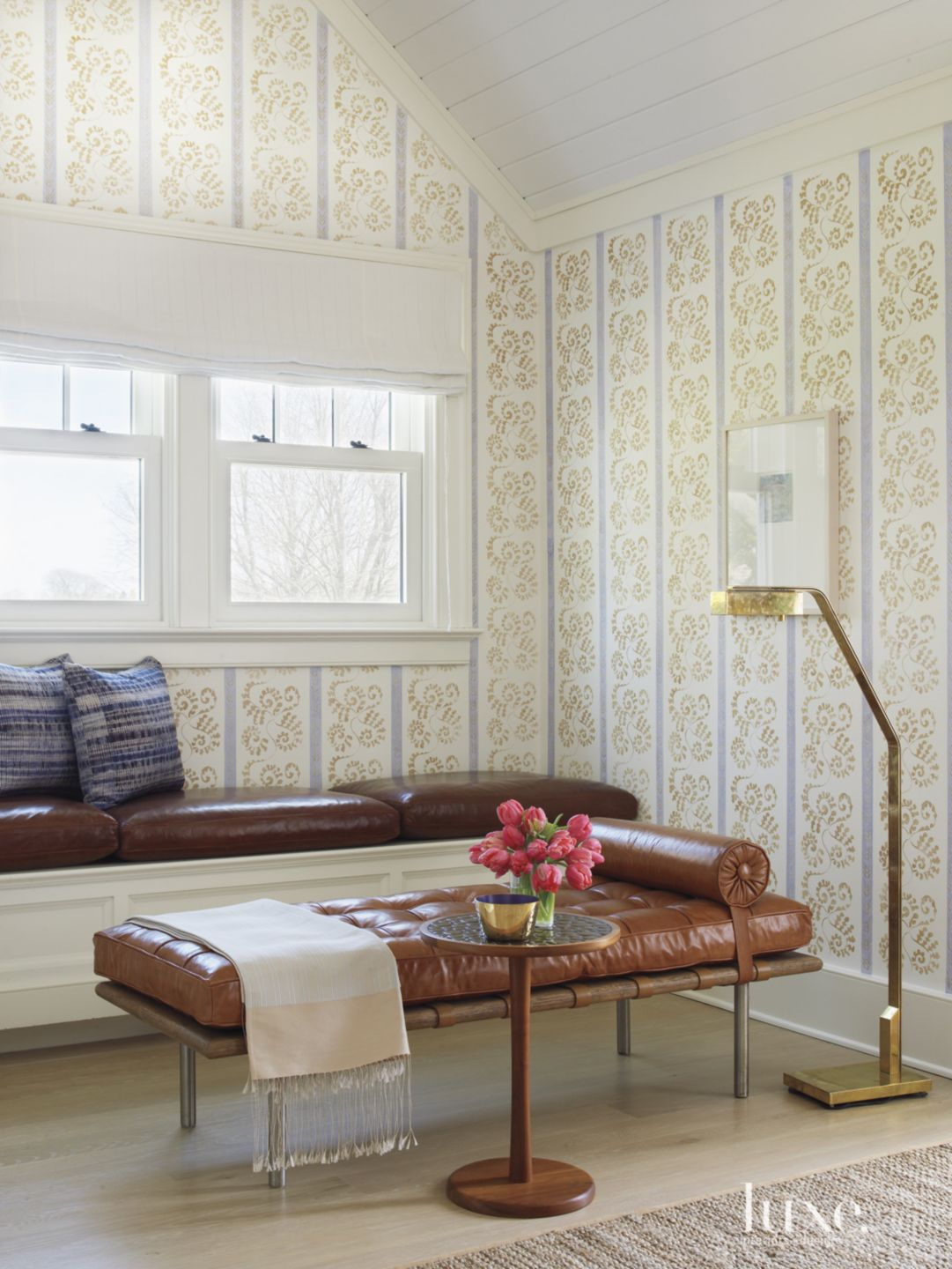 Transitional Bedroom Sitting Area with Leather Banquette