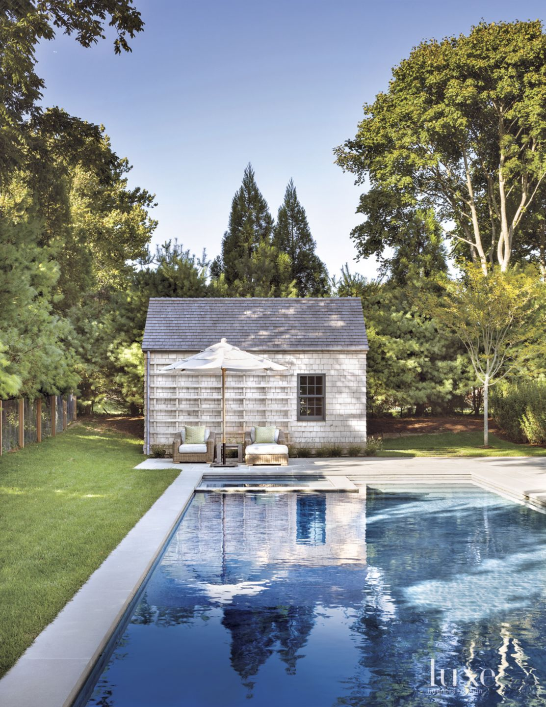 Traditional Neutral Pool House with Cedar Shingles