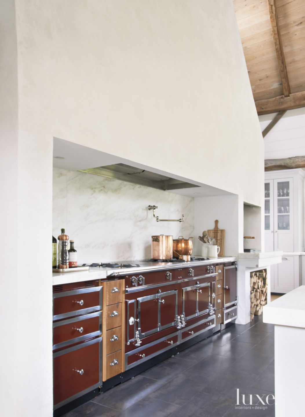 Country White Kitchen with Natural Oak Cabinets