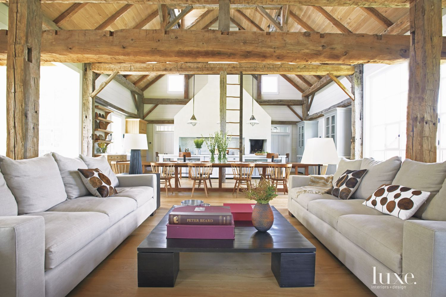 Country White Living Room with Open Plan