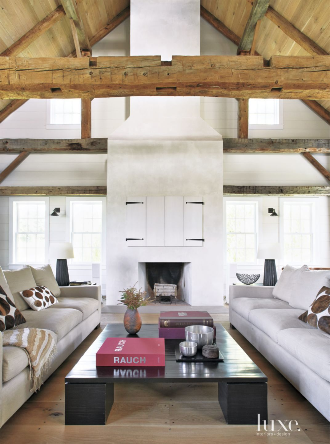 Country White Living Room with Exposed Beams