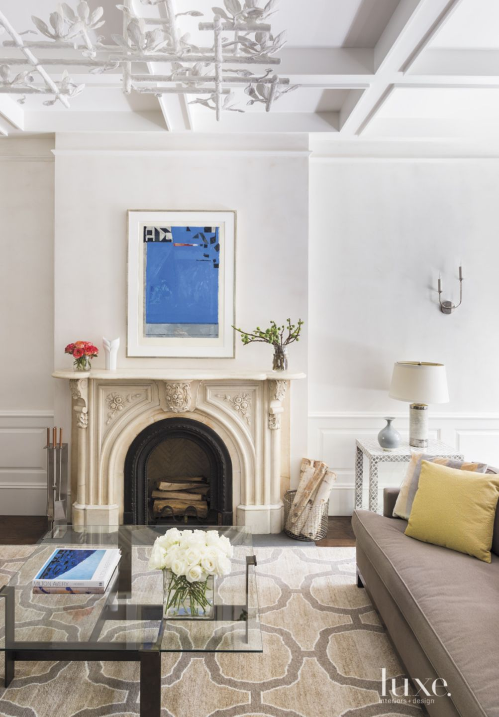 Eclectic White Living Room with Elegant Mantel