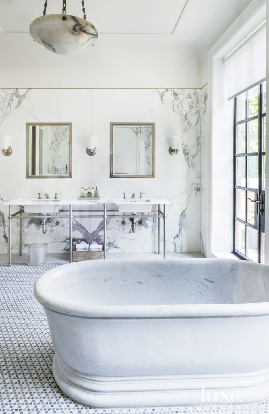 Eclectic White Bathroom with Marble Freestanding Tub