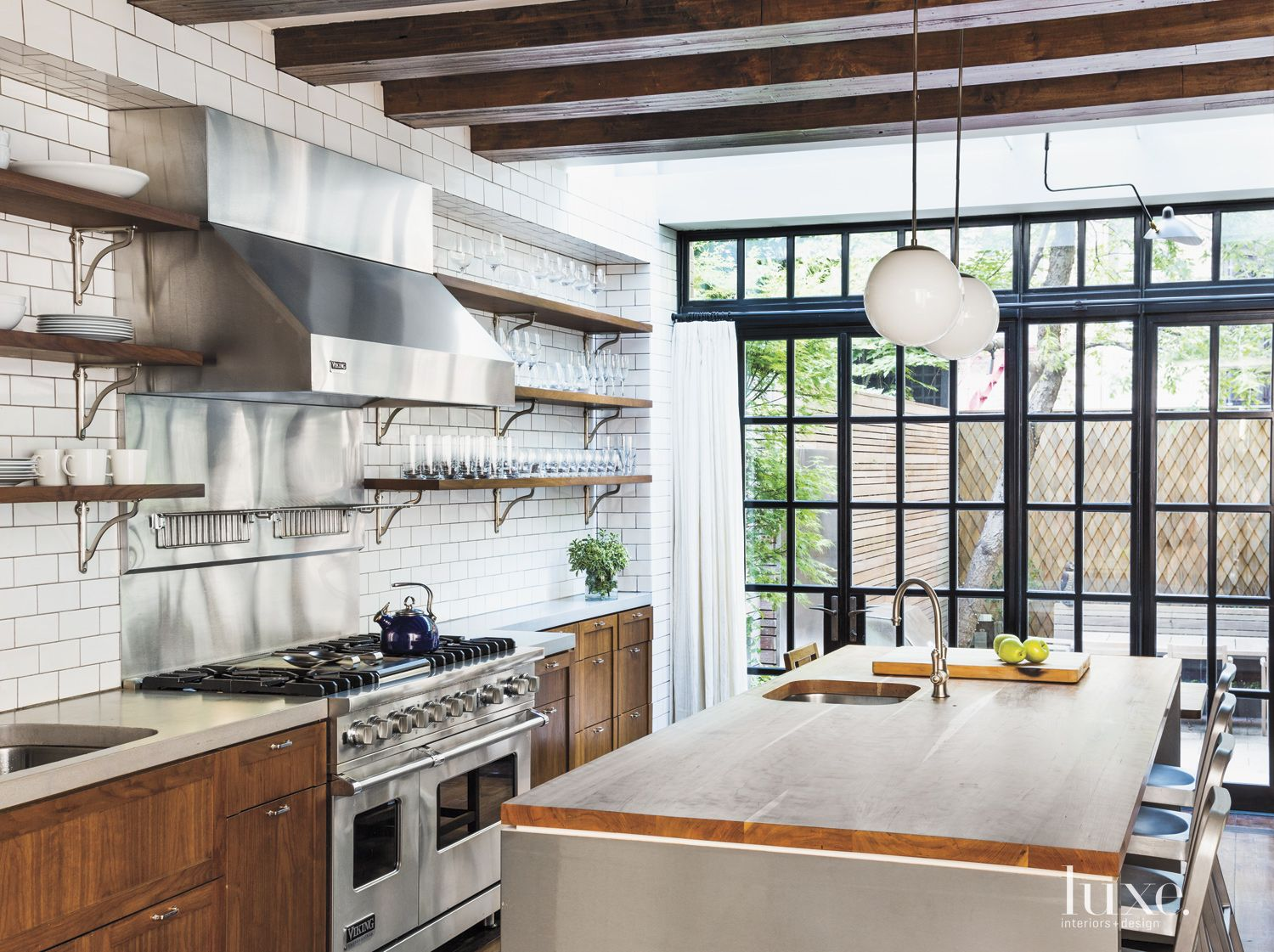 Eclectic White Kitchen with Concrete Counterop
