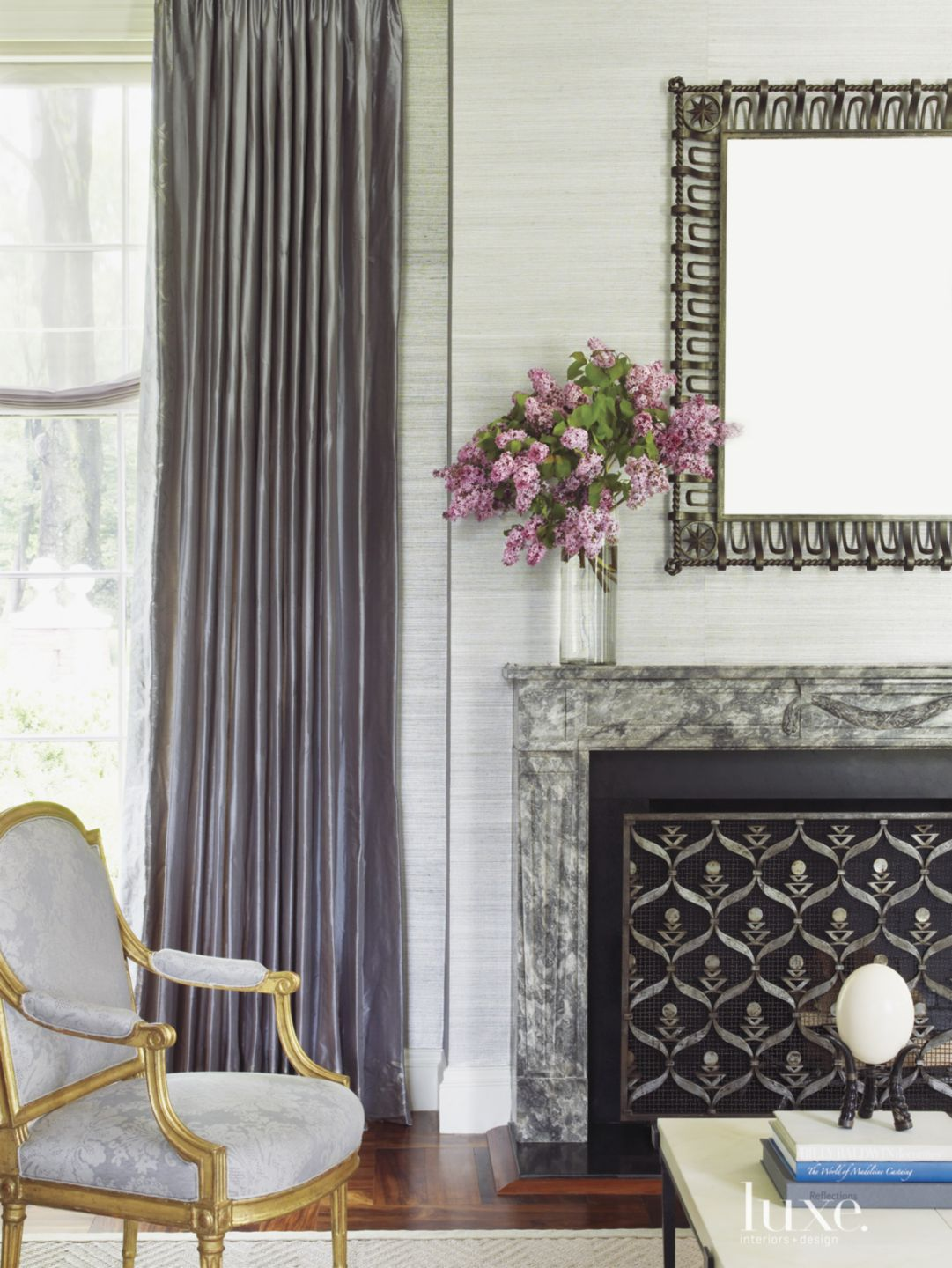 Traditional Gray Living Room with Onyx Marble Mantel